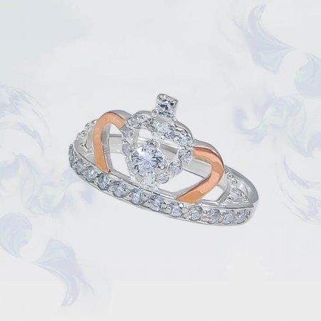 """Кольцо из серебра с золотыми вставками Корона"""", модель 187"""""""