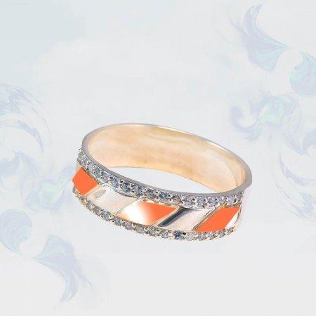Кольцо из серебра с золотыми вставками, модель 188