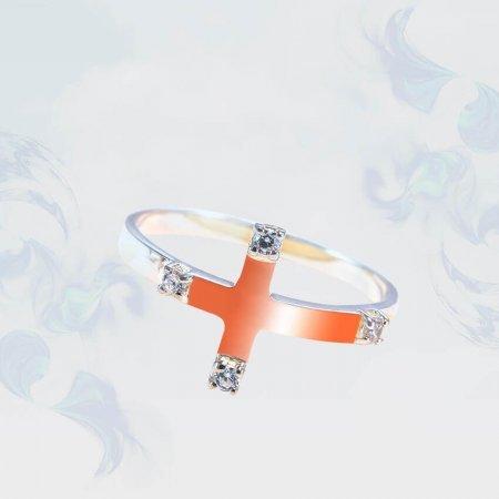 Кольцо из серебра с золотыми вставками, модель 189