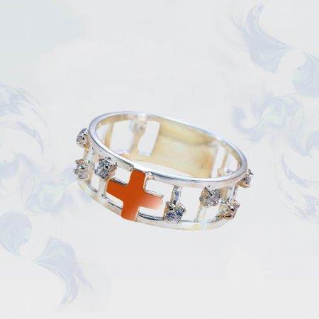 Кольцо из серебра с золотыми вставками, модель 190