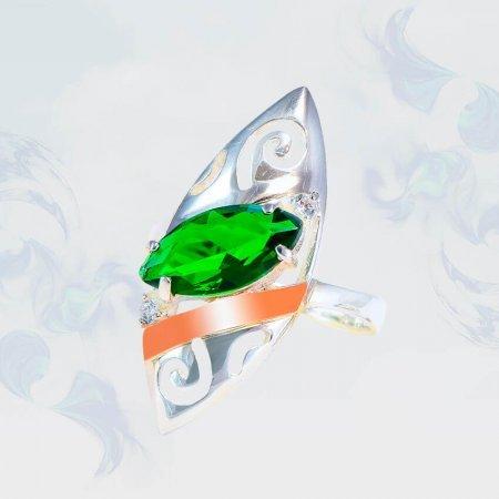 Кольцо из серебра с золотыми вставками, модель 191