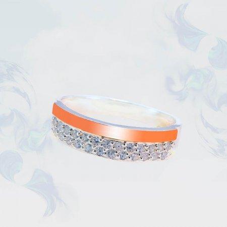 Кольцо из серебра с золотыми вставками, модель 196