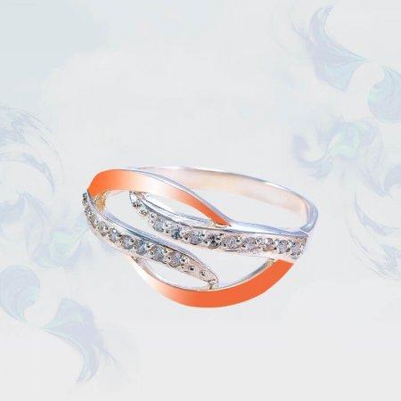 Кольцо из серебра с золотыми вставками, модель 197