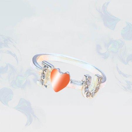 Кольцо из серебра с золотыми вставками, модель 200