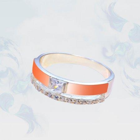 Кольцо из серебра с золотыми вставками, модель 202/1
