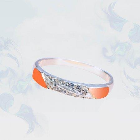 Кольцо из серебра с золотыми вставками, модель 203
