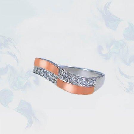Кольцо из серебра с золотыми вставками, модель 204