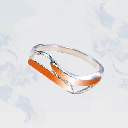 Кольцо из серебра с золотыми вставками, модель 206