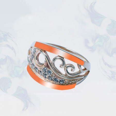 Кольцо из серебра с золотыми вставками, модель 208