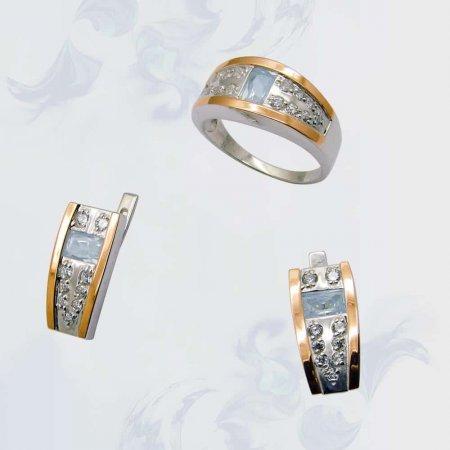 Гарнитур из серебра с золотыми вставками, модель 073