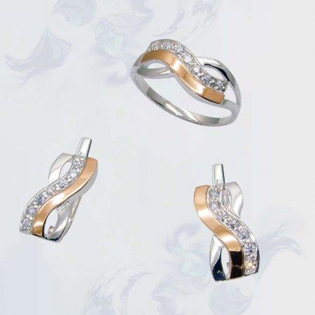 Гарнитур из серебра с золотыми вставками, модель 077
