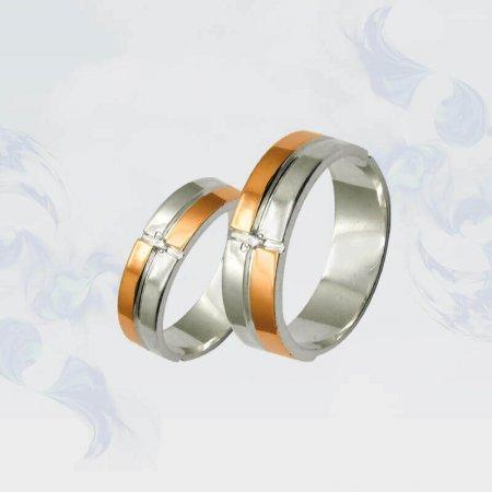 Обручальные кольца из серебра с золотыми вставками, модель 015