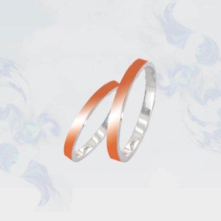 Обручальные кольца из серебра с золотыми вставками, модель 117