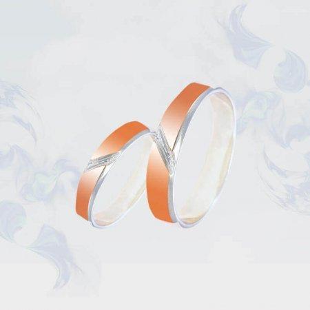 Обручальные кольца из серебра с золотыми вставками, модель 192