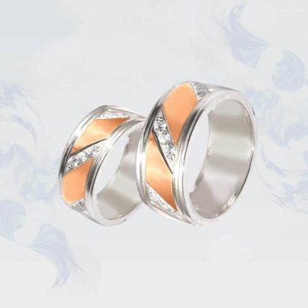 Обручальные кольца из серебра с золотыми вставками, модель 080