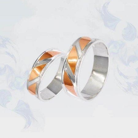Обручальные кольца из серебра с золотыми вставками, модель 080/1