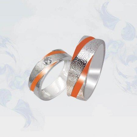 Обручальные кольца из серебра с золотыми вставками, модель 104/5