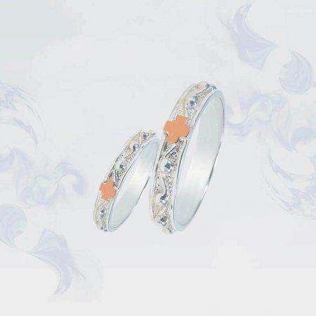 Обручальные кольца из серебра с золотыми вставками, модель 160б
