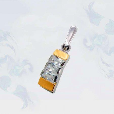 Подвеска из серебра с золотыми вставками, модель 014