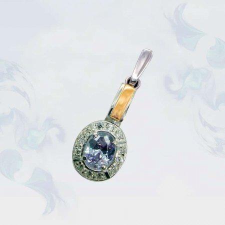 Подвеска из серебра с золотыми вставками, модель 025