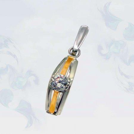 Подвеска из серебра с золотыми вставками, модель 033