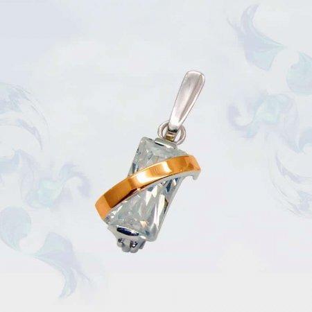 Подвеска из серебра с золотыми вставками, модель 034