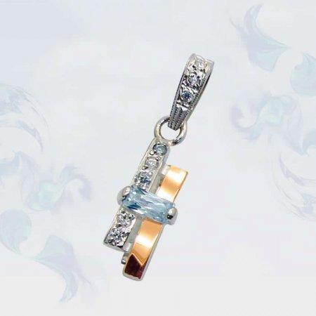 Подвеска из серебра с золотыми вставками, модель 038