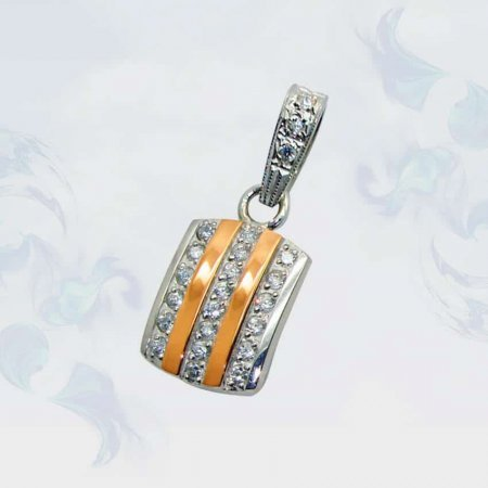 Подвеска из серебра с золотыми вставками, модель 044