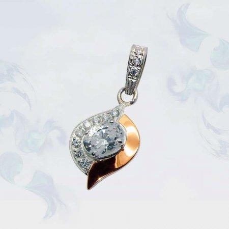 Подвеска из серебра с золотыми вставками, модель 047
