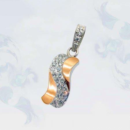 Подвеска из серебра с золотыми вставками, модель 048