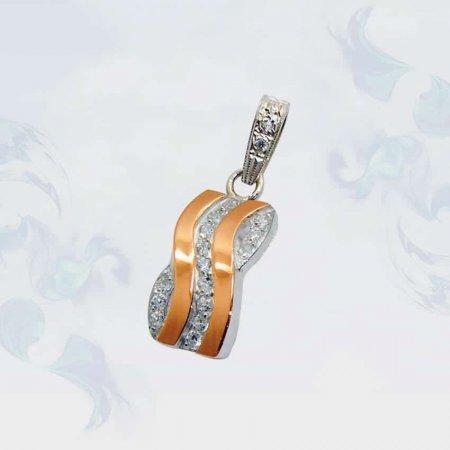 Подвеска из серебра с золотыми вставками, модель 049