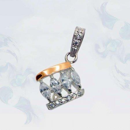 Подвеска из серебра с золотыми вставками, модель 052