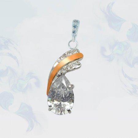 Подвеска из серебра с золотыми вставками, модель 060