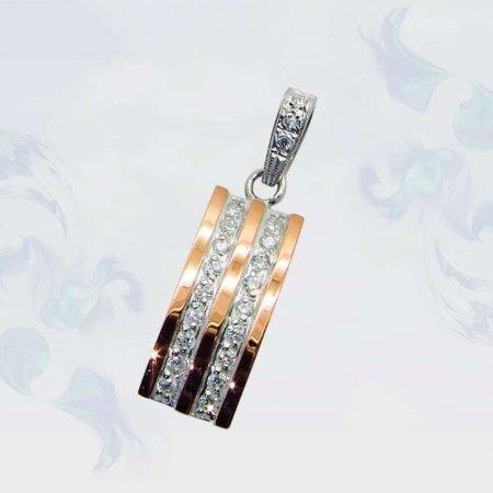 Подвеска из серебра с золотыми вставками, модель 066