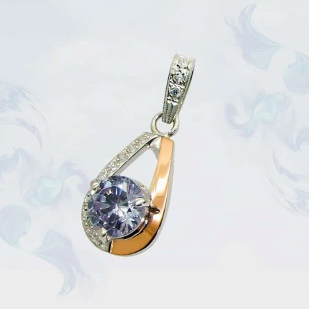 Подвеска из серебра с золотыми вставками, модель 068