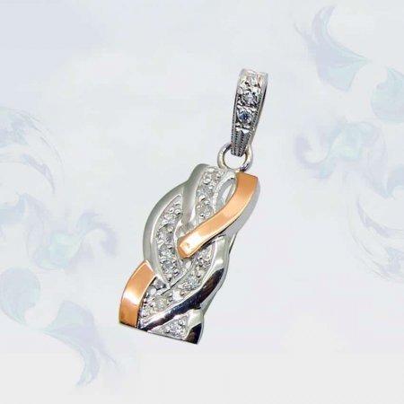 Подвеска из серебра с золотыми вставками, модель 071
