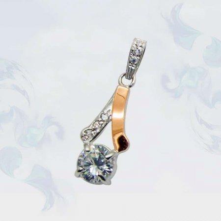 Подвеска из серебра с золотыми вставками, модель 072