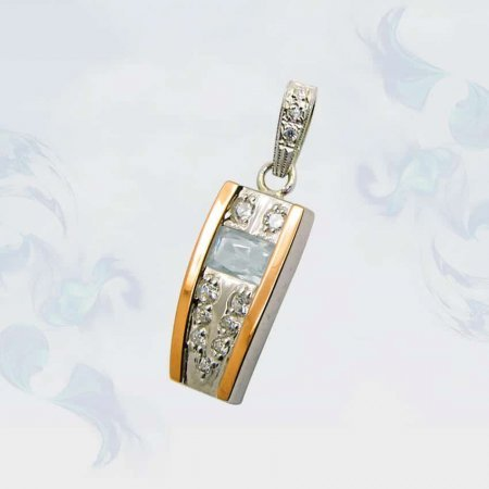 Подвеска из серебра с золотыми вставками, модель 073