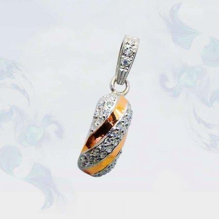 Подвеска из серебра с золотыми вставками, модель 074