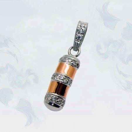 Подвеска из серебра с золотыми вставками, модель 076