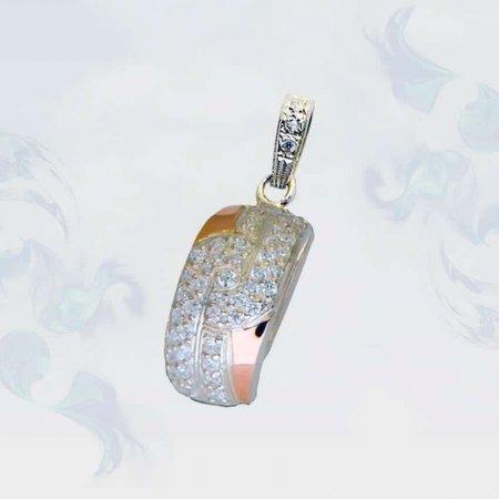 Подвеска из серебра с золотыми вставками, модель 083