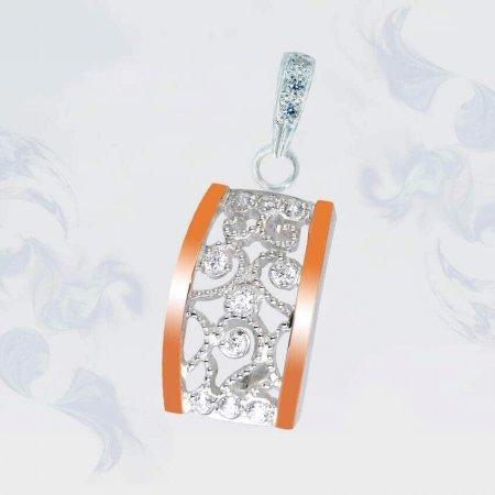 Подвеска из серебра с золотыми вставками, модель 101