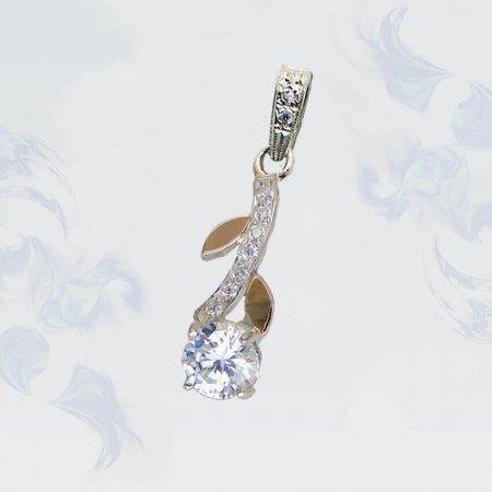 Подвеска из серебра с золотыми вставками, модель 112