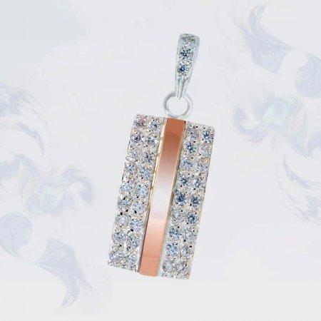 Подвеска из серебра с золотыми вставками, модель 165