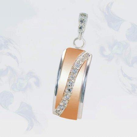 Подвеска из серебра с золотыми вставками, модель 177