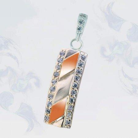 Подвеска из серебра с золотыми вставками, модель 188