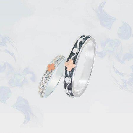 Обручальные кольца из серебра с золотыми вставками, модель 160чб
