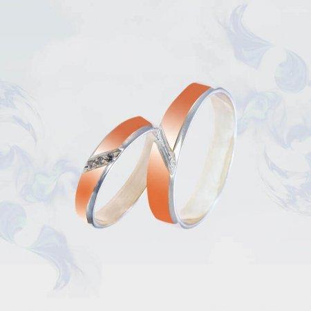 Обручальные кольца из серебра с золотыми вставками, модель 192/3