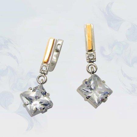 Серьги из серебра с золотыми вставками, модель 001