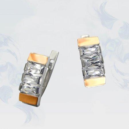 Серьги из серебра с золотыми вставками, модель 014